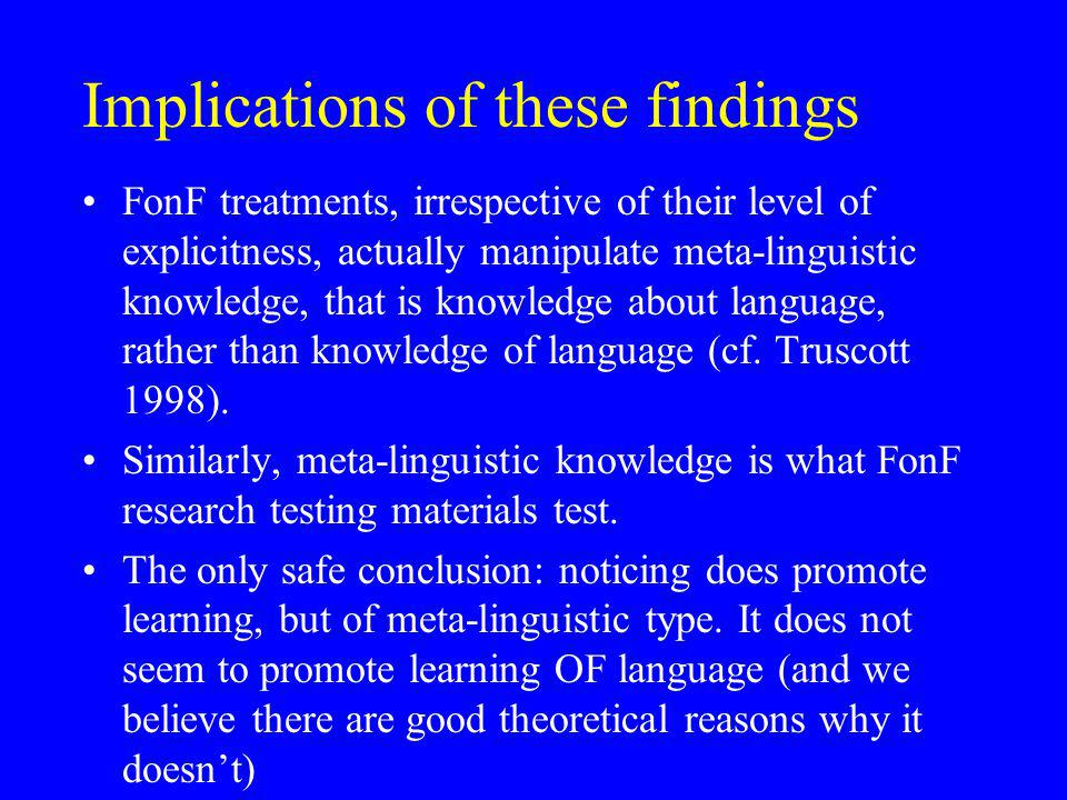 Implications of these findings