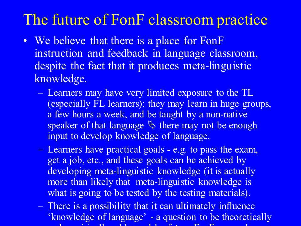 The future of FonF classroom practice