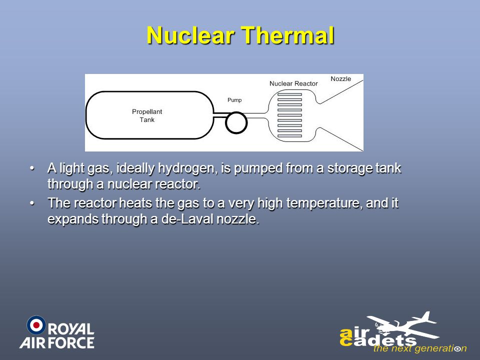 Nuclear Thermal A light gas, ideally hydrogen, is pumped from a storage tank through a nuclear reactor.