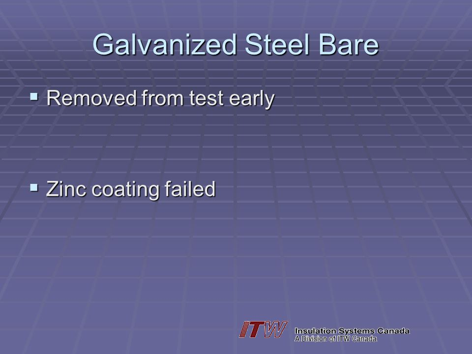 Galvanized Steel Bare Removed from test early Zinc coating failed