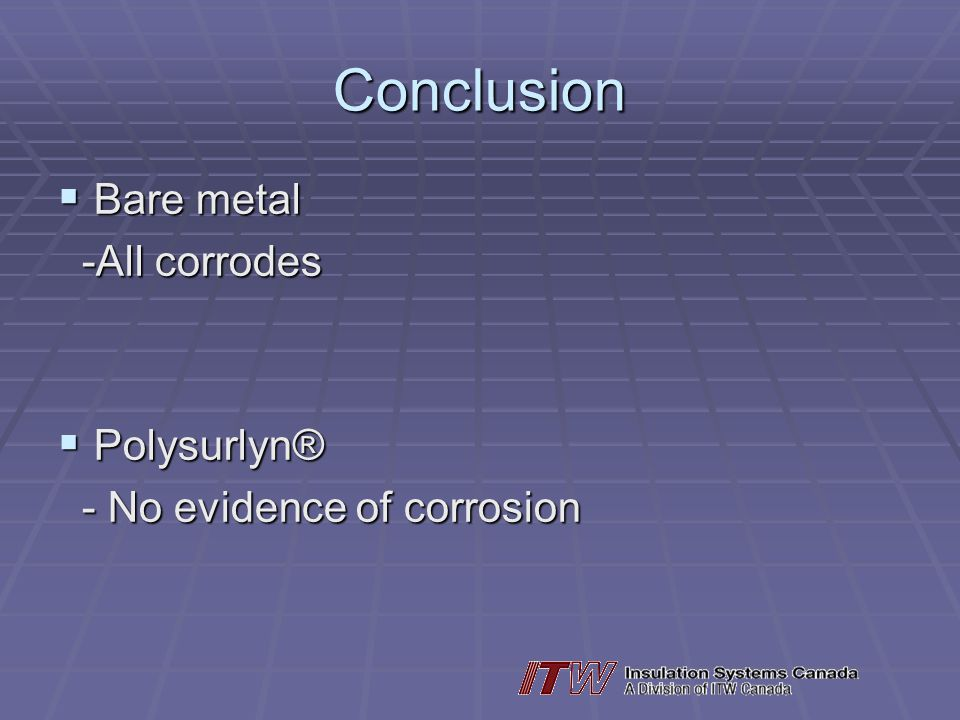 Conclusion Bare metal -All corrodes Polysurlyn®
