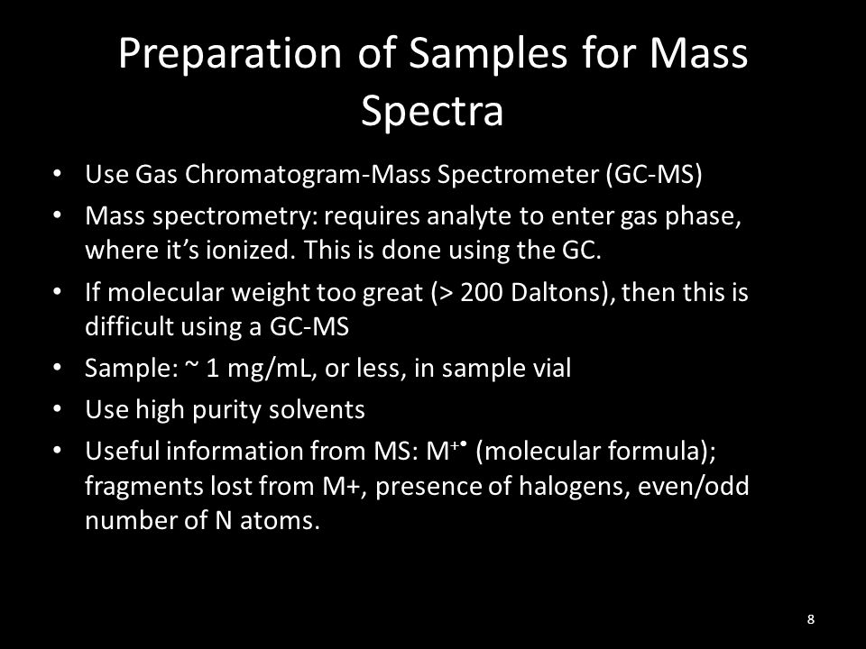 Preparation of Samples for Mass Spectra