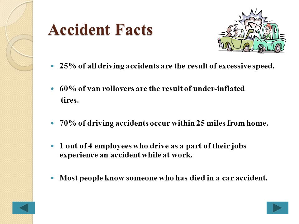 Accident Facts 25% of all driving accidents are the result of excessive speed. 60% of van rollovers are the result of under-inflated.