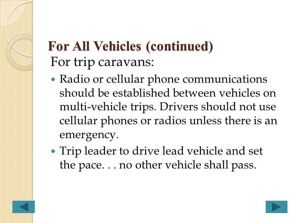 For All Vehicles (continued)