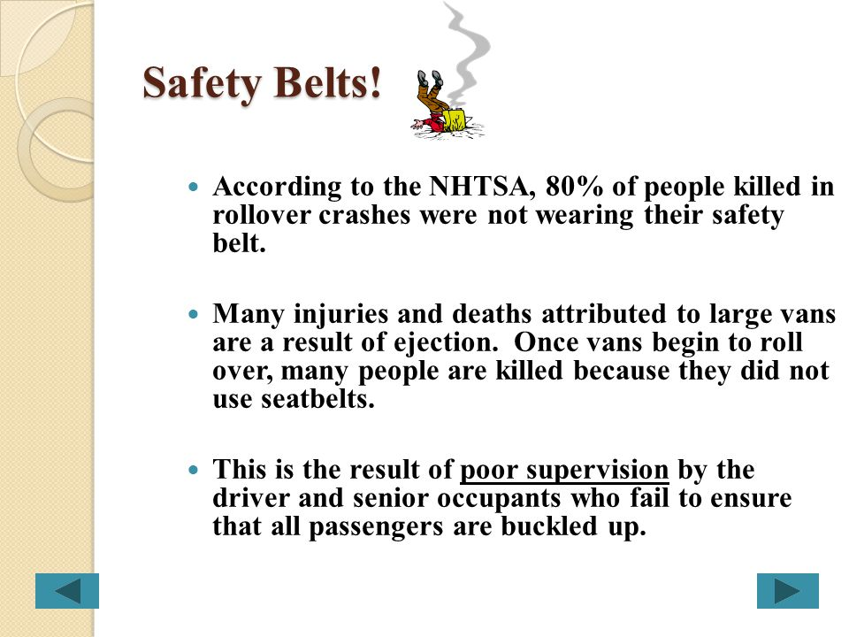 Safety Belts! According to the NHTSA, 80% of people killed in rollover crashes were not wearing their safety belt.