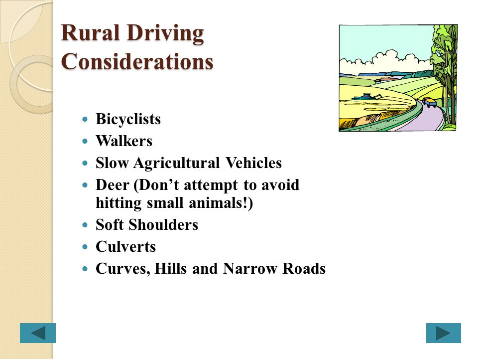 Rural Driving Considerations