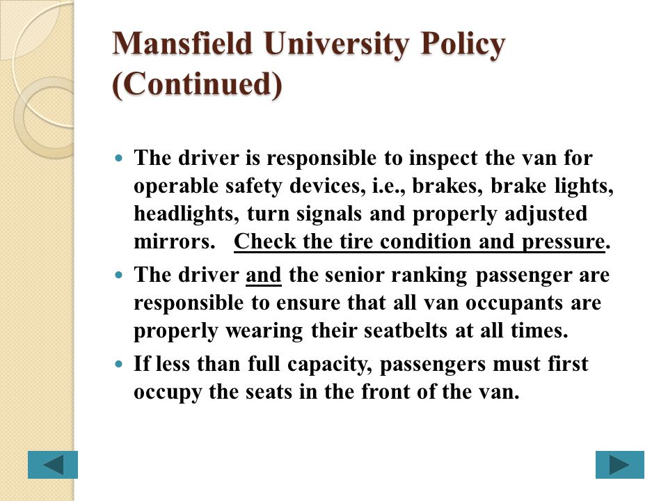 Mansfield University Policy (Continued)