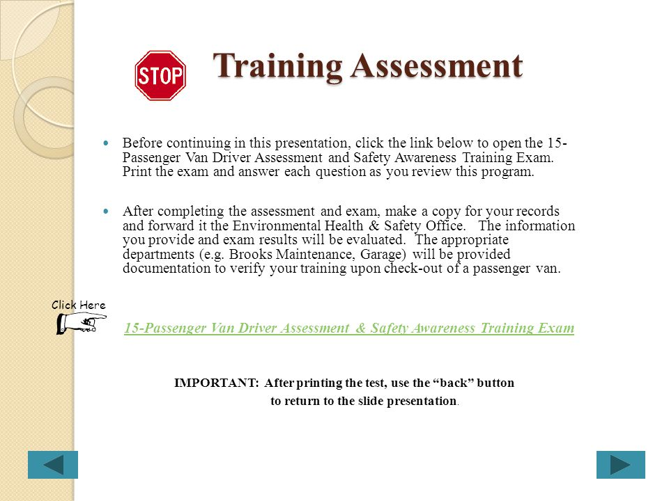 15-Passenger Van Driver Assessment & Safety Awareness Training Exam