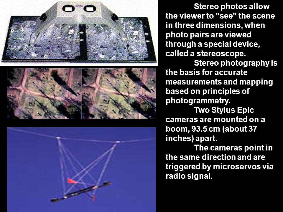 Stereo photos allow the viewer to see the scene in three dimensions, when photo pairs are viewed through a special device, called a stereoscope.