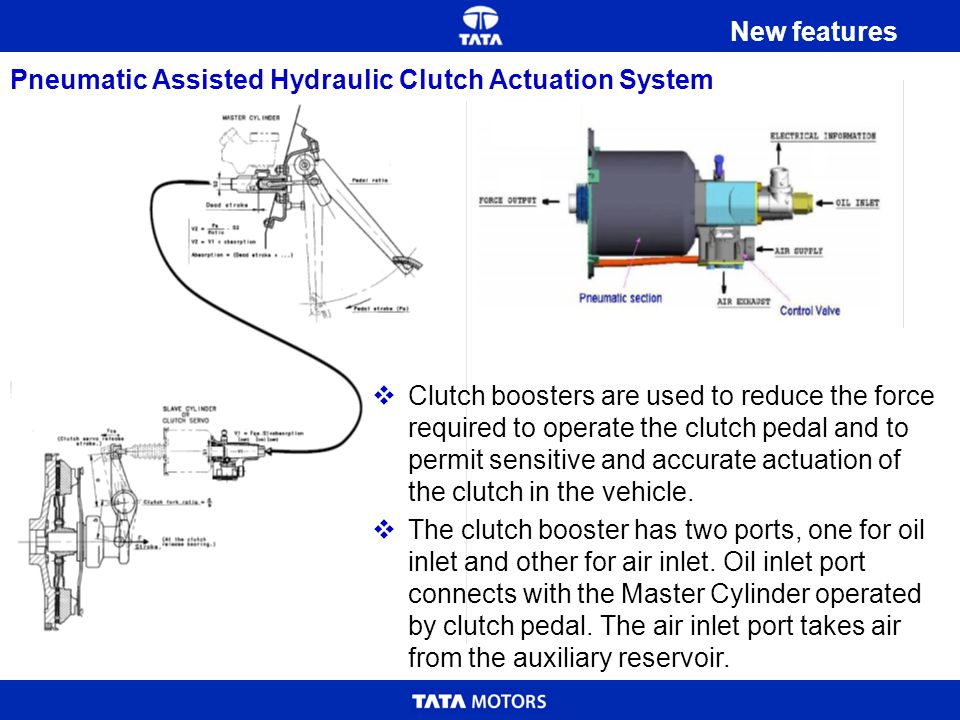 New features Pneumatic Assisted Hydraulic Clutch Actuation System.
