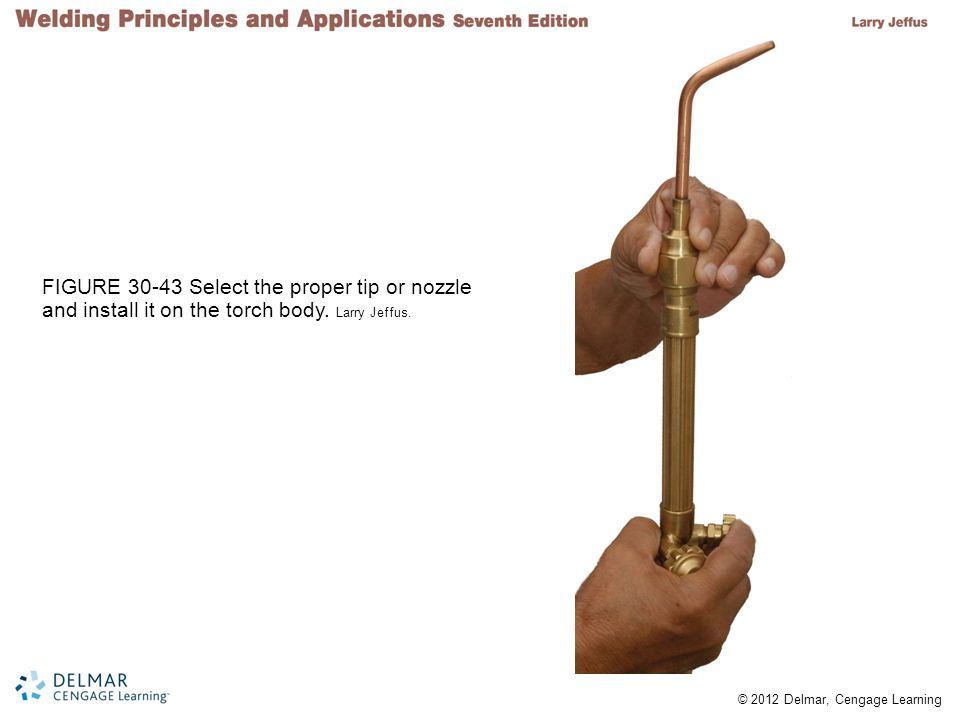 FIGURE 30-43 Select the proper tip or nozzle and install it on the torch body. Larry Jeffus.