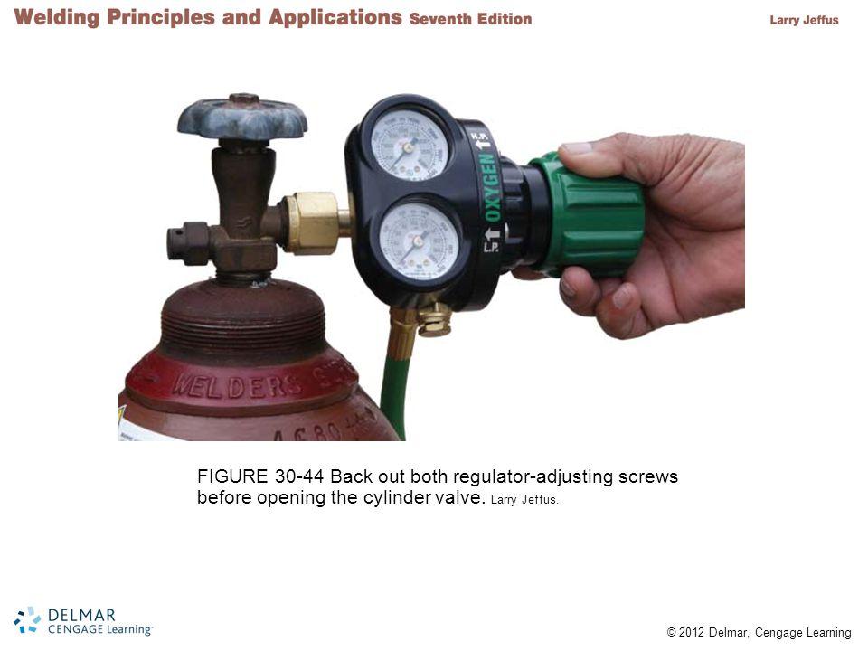 FIGURE 30-44 Back out both regulator-adjusting screws before opening the cylinder valve.