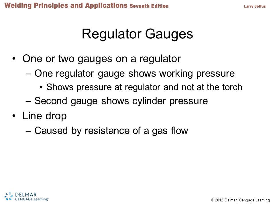 Regulator Gauges One or two gauges on a regulator Line drop
