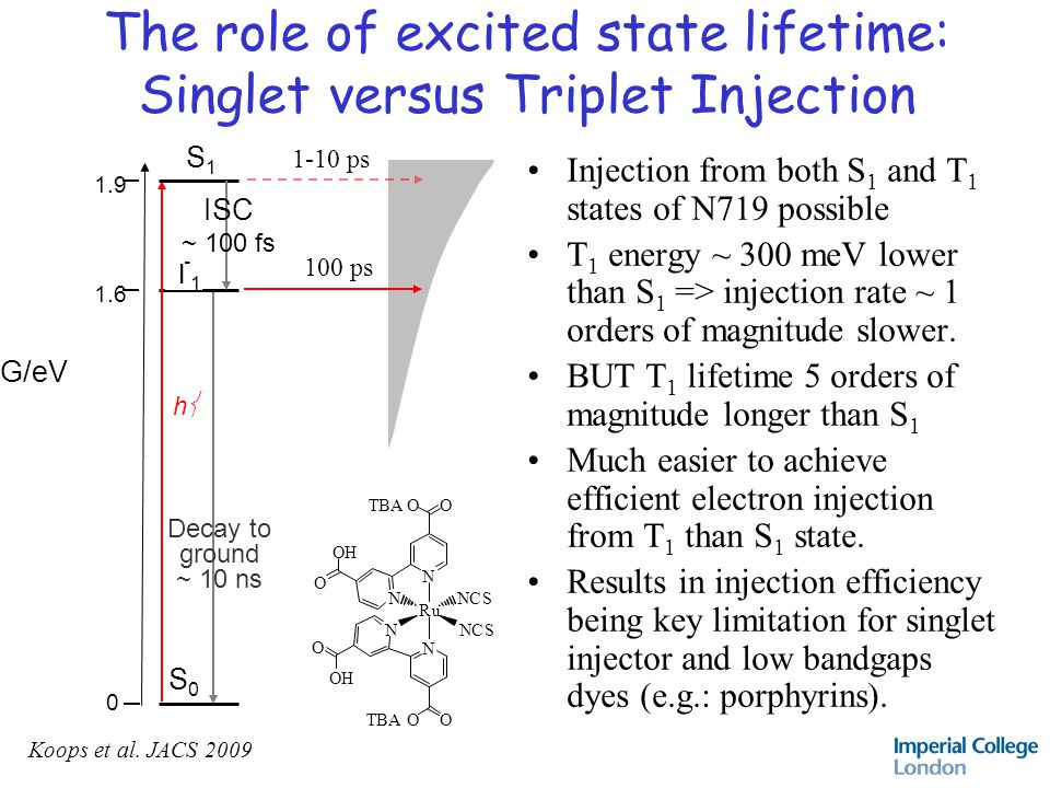 The role of excited state lifetime: Singlet versus Triplet Injection