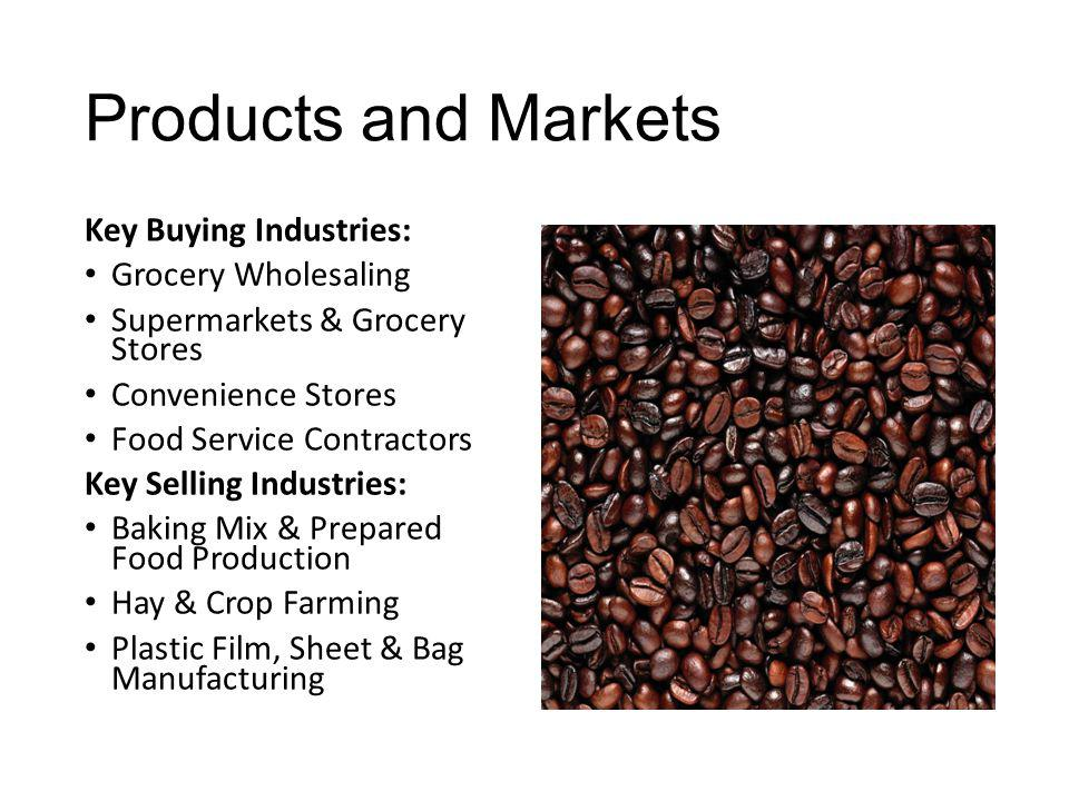 Products and Markets Key Buying Industries: Grocery Wholesaling
