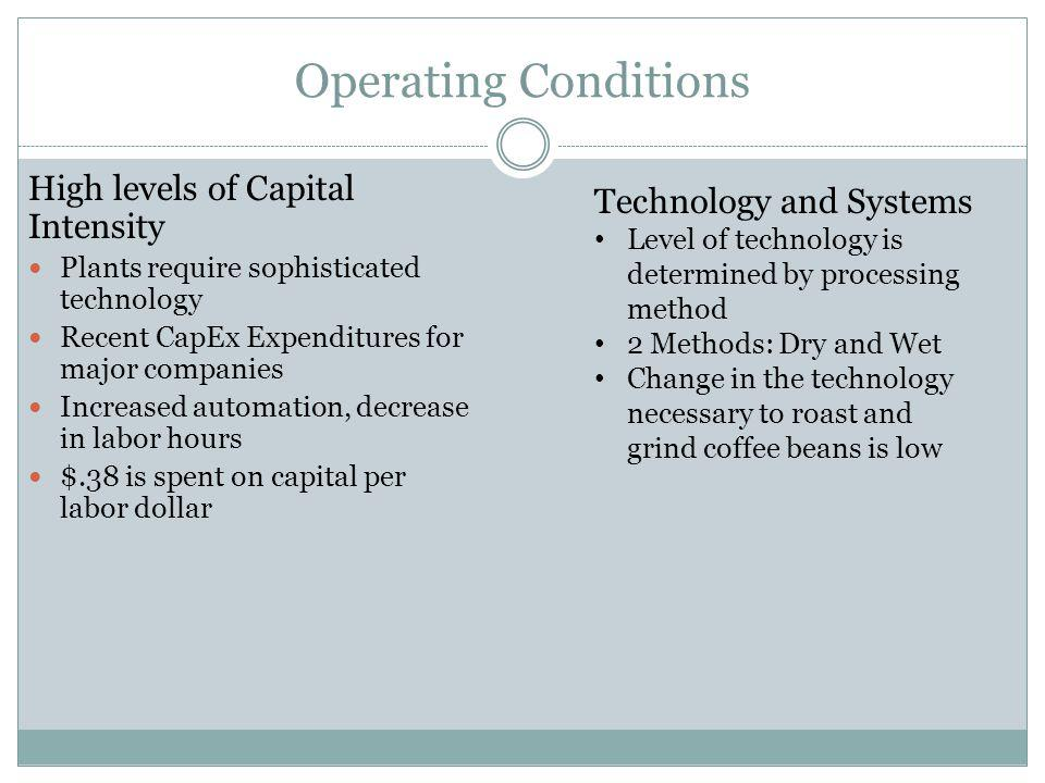 Operating Conditions High levels of Capital Intensity