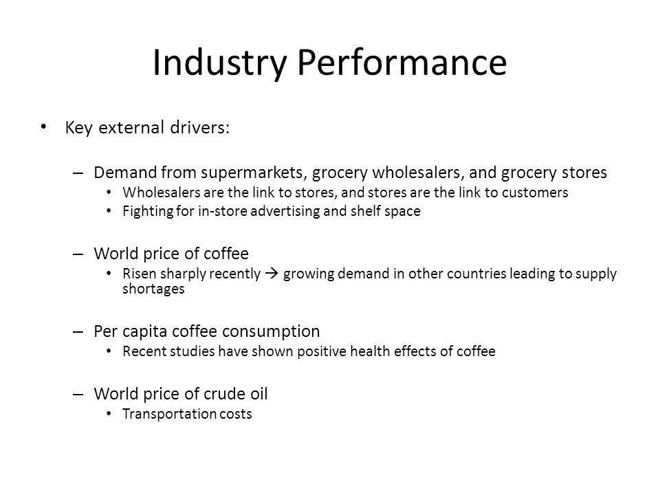 Industry Performance Key external drivers: