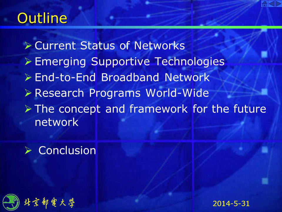 Outline Current Status of Networks Emerging Supportive Technologies
