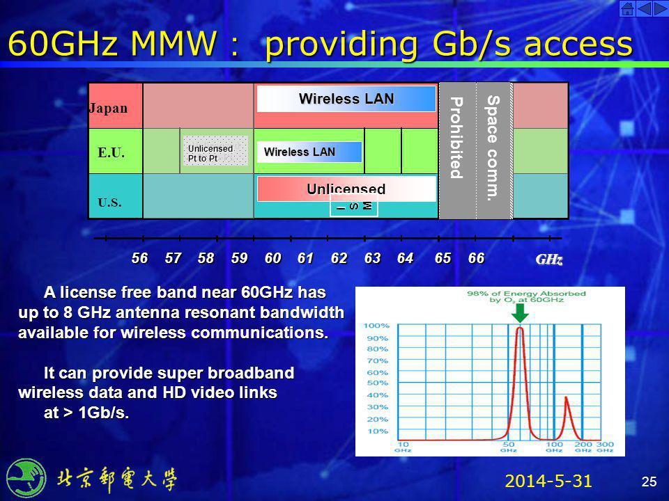 60GHz MMW: providing Gb/s access