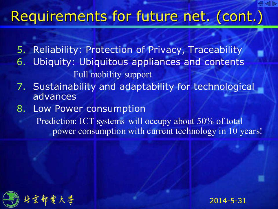 Requirements for future net. (cont.)
