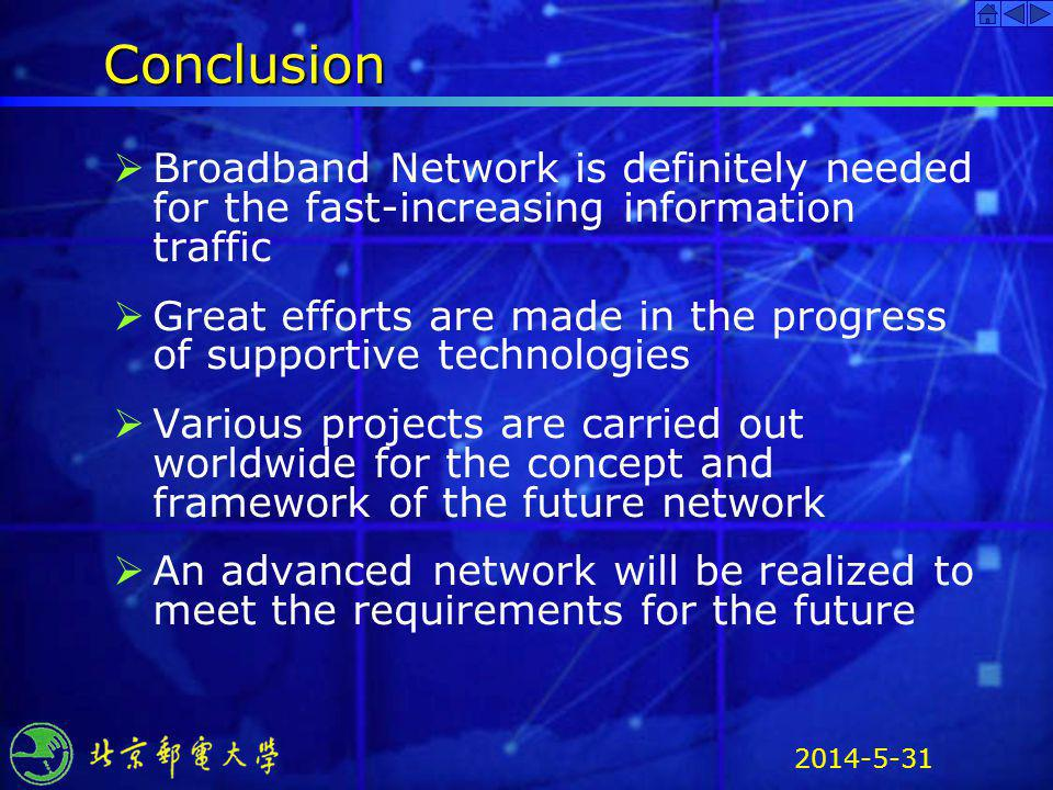 Conclusion Broadband Network is definitely needed for the fast-increasing information traffic.