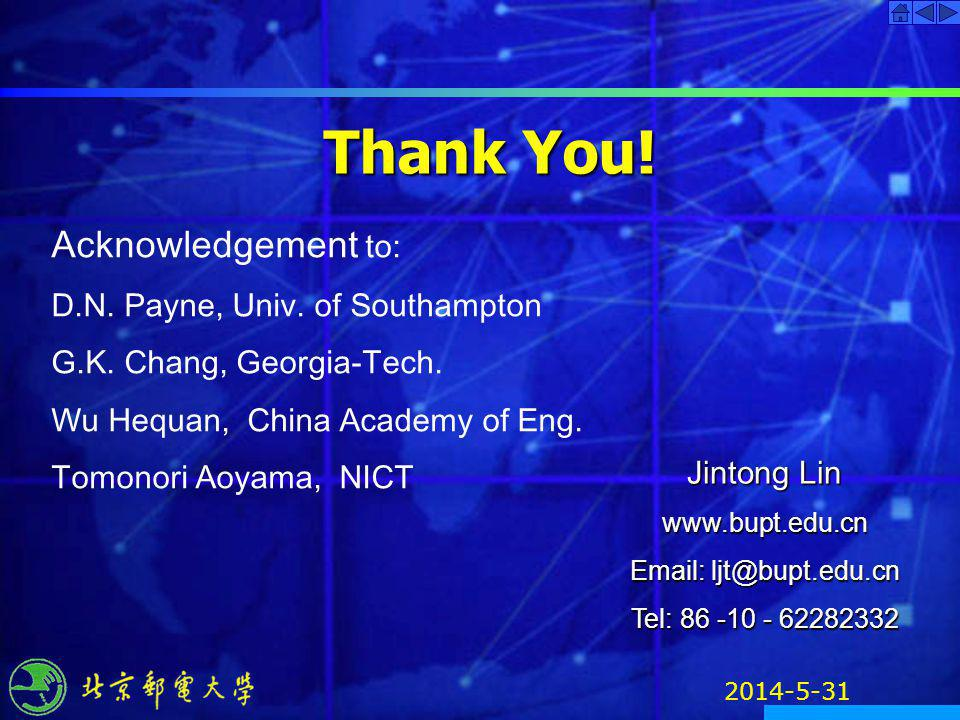 Thank You! Acknowledgement to: D.N. Payne, Univ. of Southampton