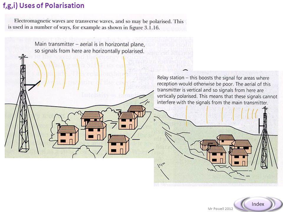 f,g,i) Uses of Polarisation