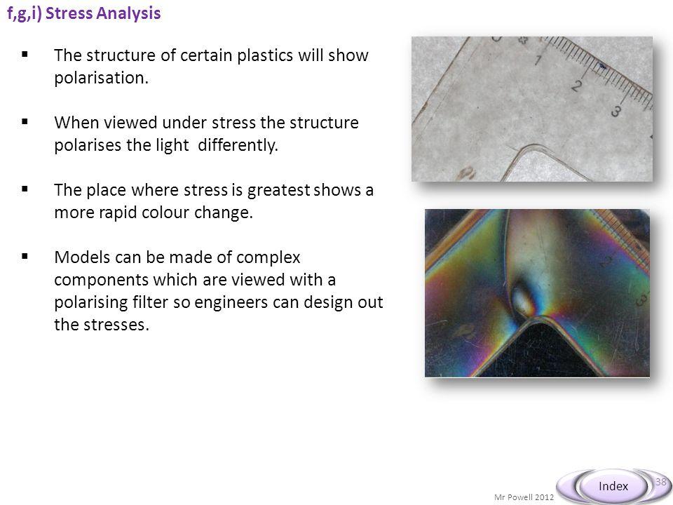The structure of certain plastics will show polarisation.