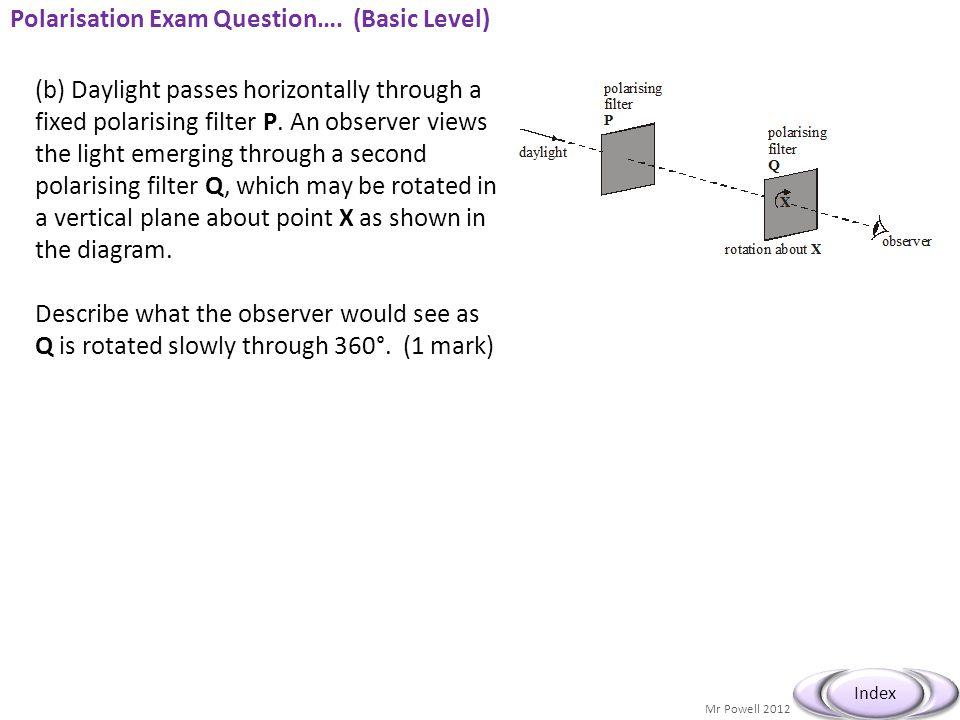 Polarisation Exam Question…. (Basic Level)