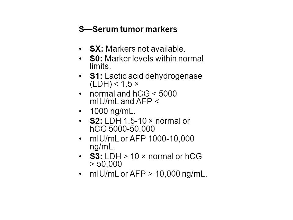 S—Serum tumor markers SX: Markers not available. S0: Marker levels within normal limits. S1: Lactic acid dehydrogenase (LDH) < 1.5 ×