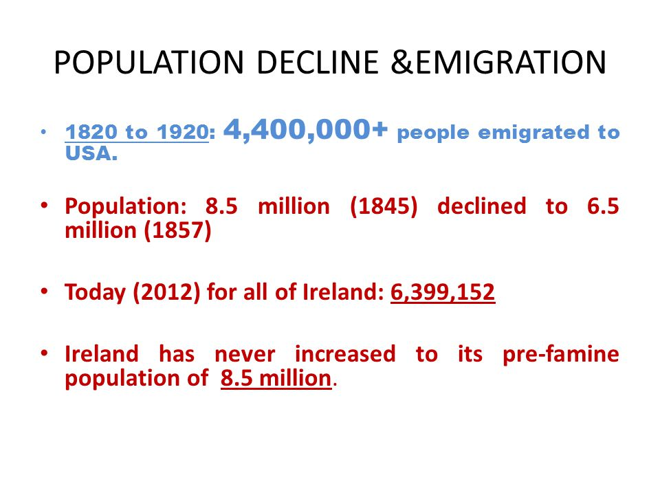 POPULATION DECLINE &EMIGRATION