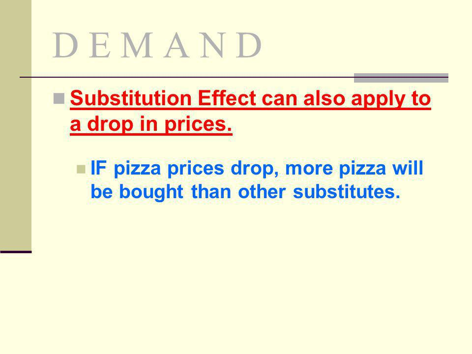 D E M A N D Substitution Effect can also apply to a drop in prices.