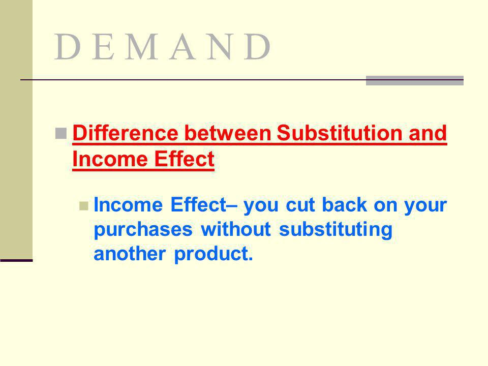D E M A N D Difference between Substitution and Income Effect
