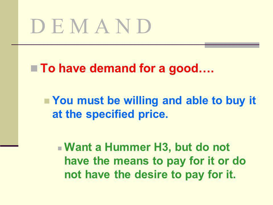 D E M A N D To have demand for a good….