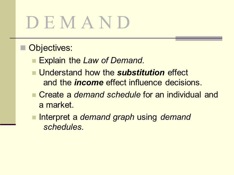 D E M A N D Objectives: Explain the Law of Demand.