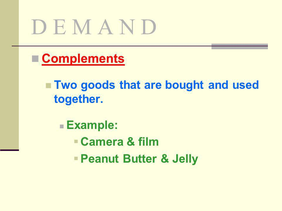 D E M A N D Complements Two goods that are bought and used together.
