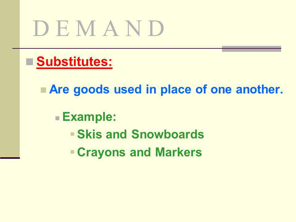 D E M A N D Substitutes: Are goods used in place of one another.