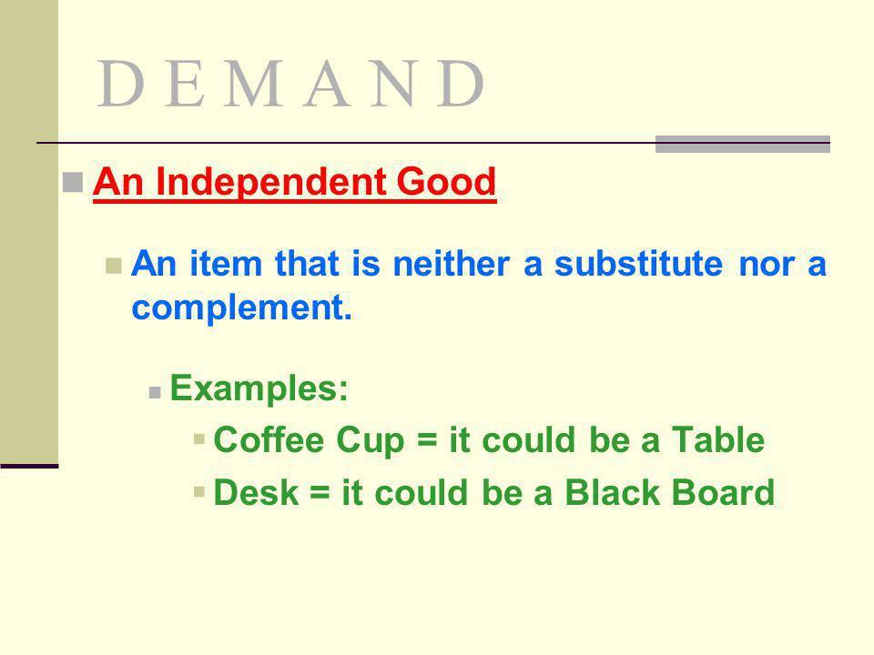D E M A N D An Independent Good