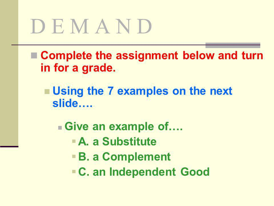 D E M A N D Complete the assignment below and turn in for a grade.