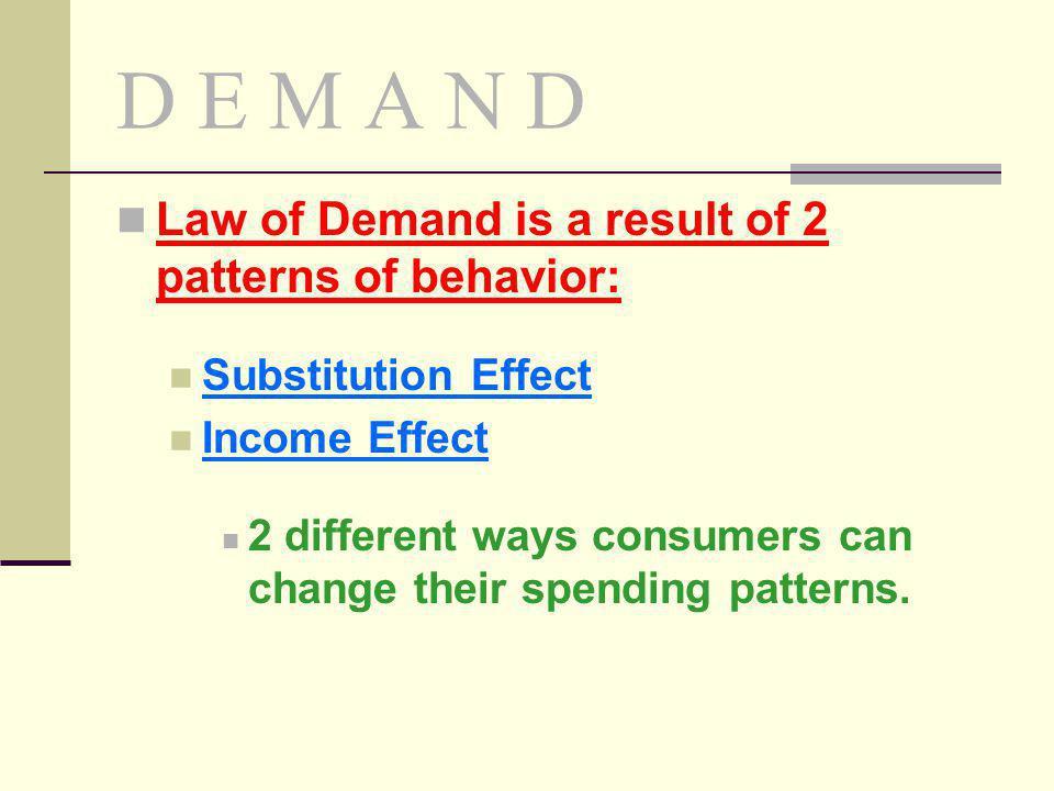 D E M A N D Law of Demand is a result of 2 patterns of behavior: