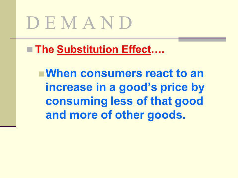 D E M A N D The Substitution Effect….