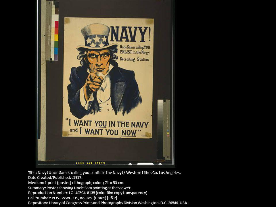 Title: Navy. Uncle Sam is calling you--enlist in the Navy