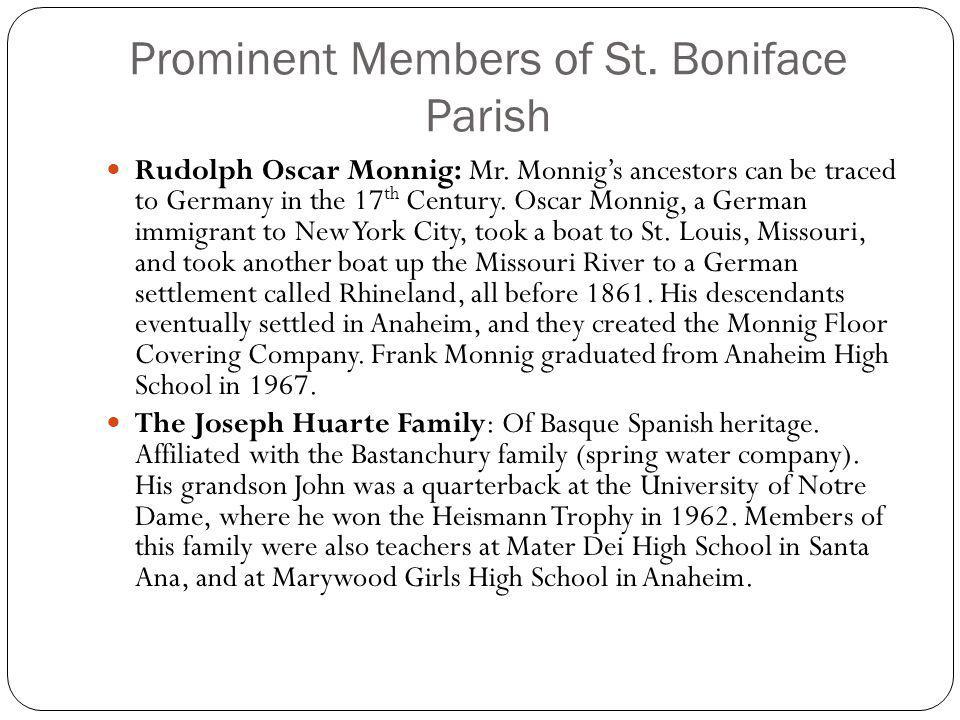 Prominent Members of St. Boniface Parish