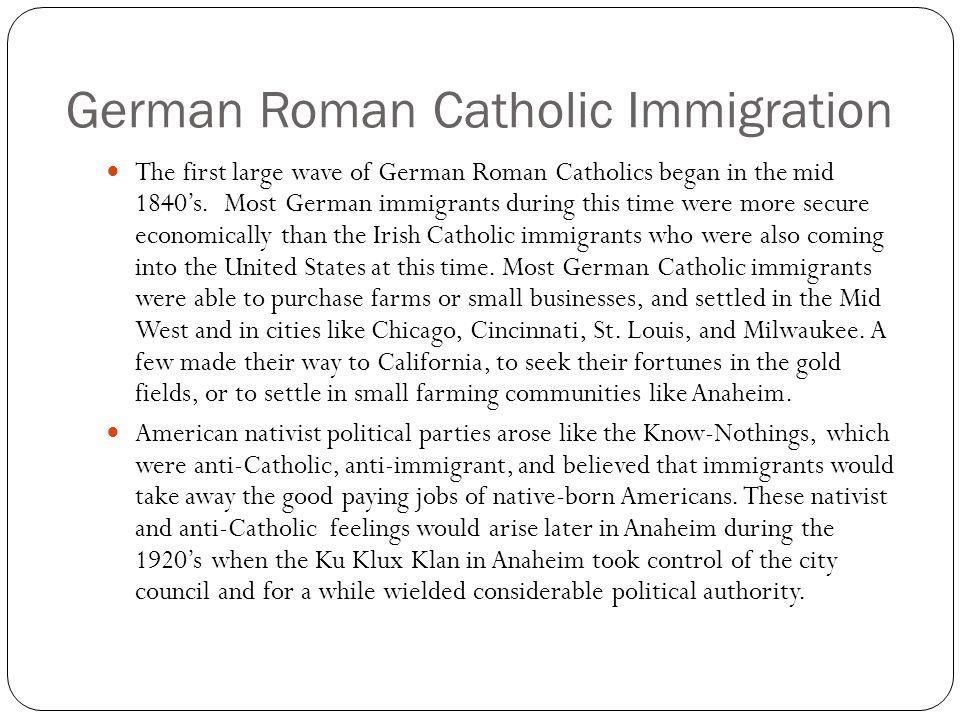 German Roman Catholic Immigration