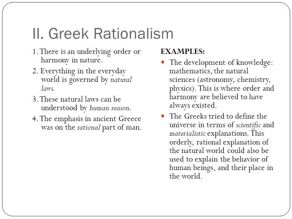 II. Greek Rationalism
