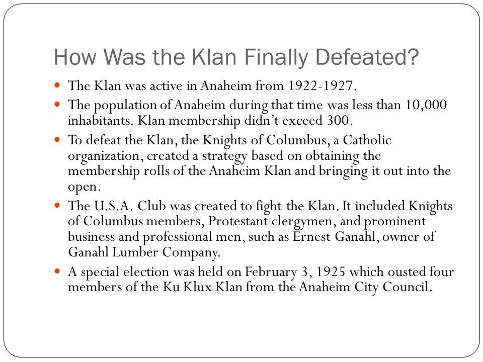 How Was the Klan Finally Defeated