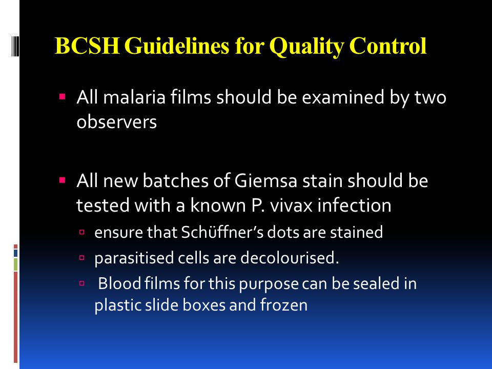BCSH Guidelines for Quality Control