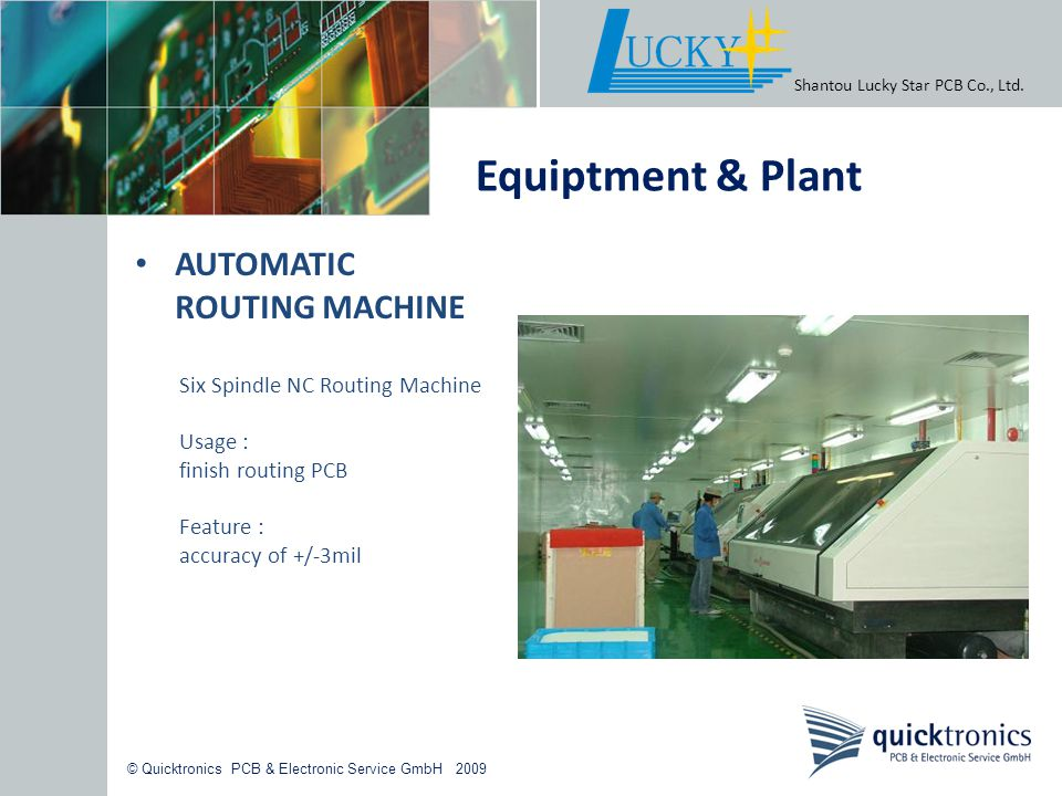 Equiptment & Plant AUTOMATIC ROUTING MACHINE