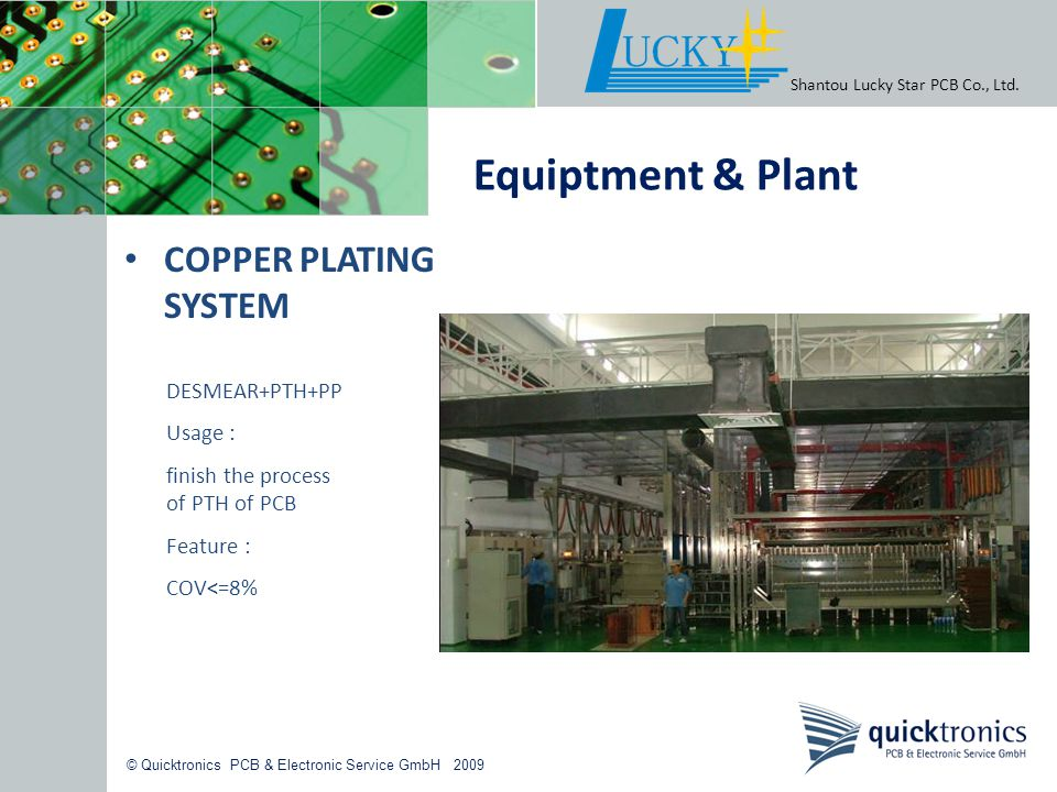 Equiptment & Plant COPPER PLATING SYSTEM DESMEAR+PTH+PP Usage :
