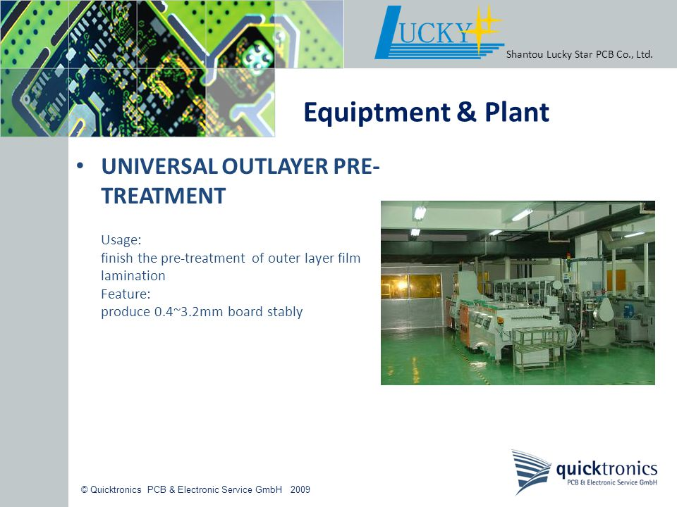 Equiptment & Plant UNIVERSAL OUTLAYER PRE-TREATMENT Usage: